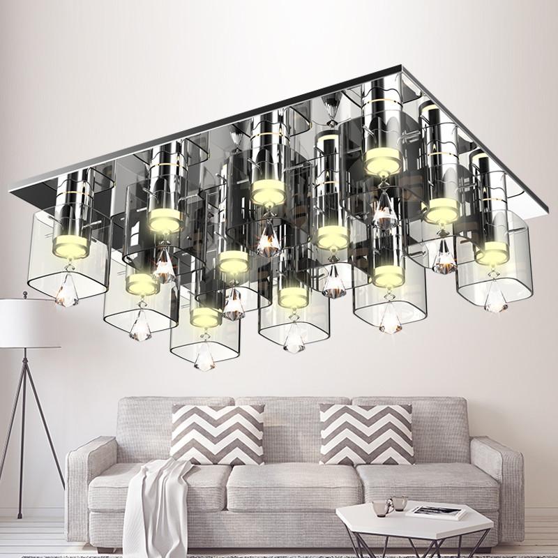 欧普照明 客厅水晶灯现代led吸顶灯长方形新灯具温馨大气卧室灯图片