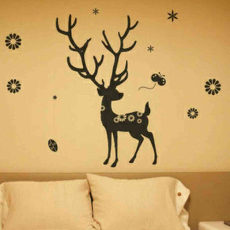 个性一百 梅花鹿akk0484三代可移除墙贴浴室动物贴纸走廊可移除家饰装