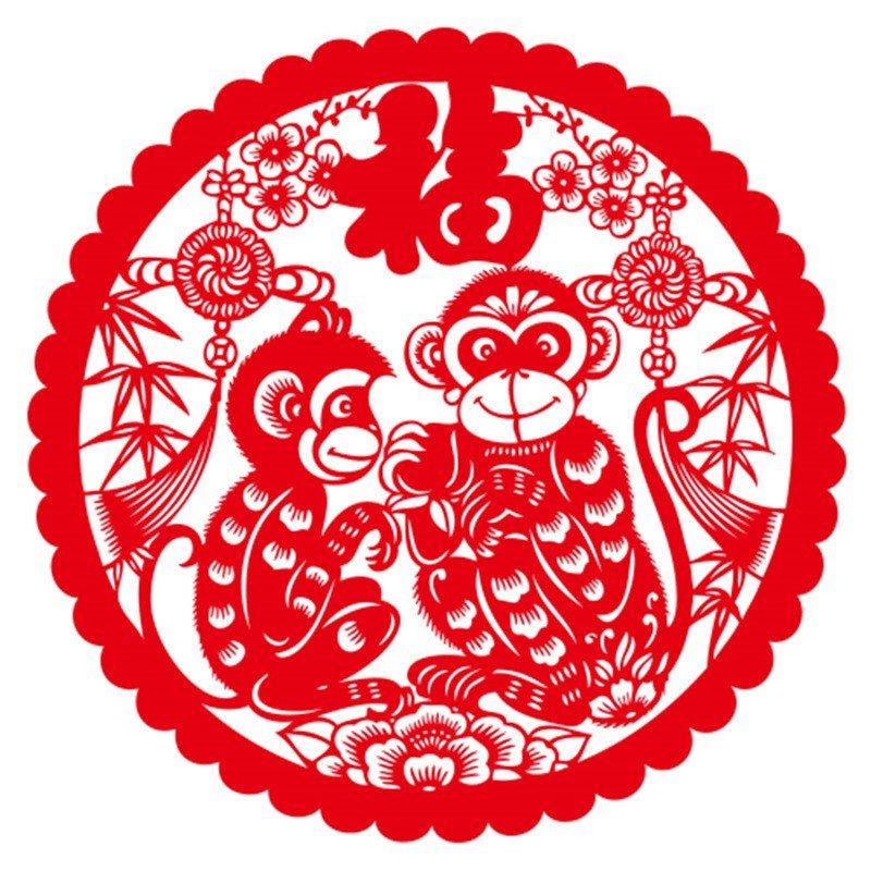 灵猴迎春个性一百猴年剪纸 春节墙贴创意寿字卷轴剪纸