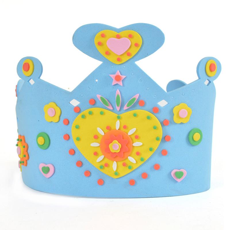 孩派diy手工 生日皇冠太阳帽子 eva制作立体粘贴画儿童 皇冠帽