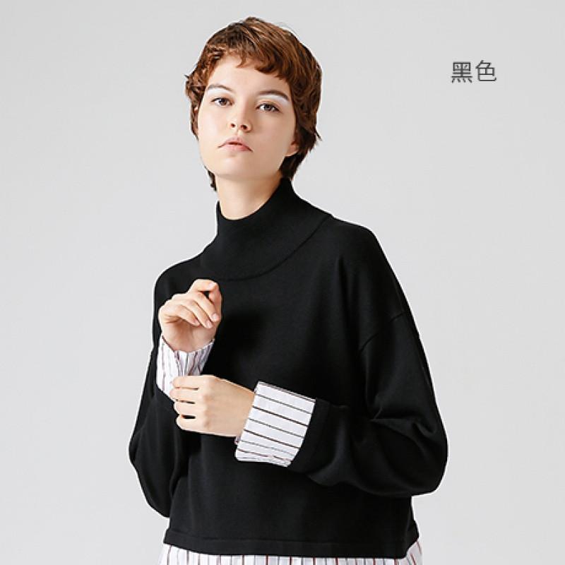 初语2017冬季衬衫小高领套头毛衣新品假两件和初中v衬衫光学作图图片