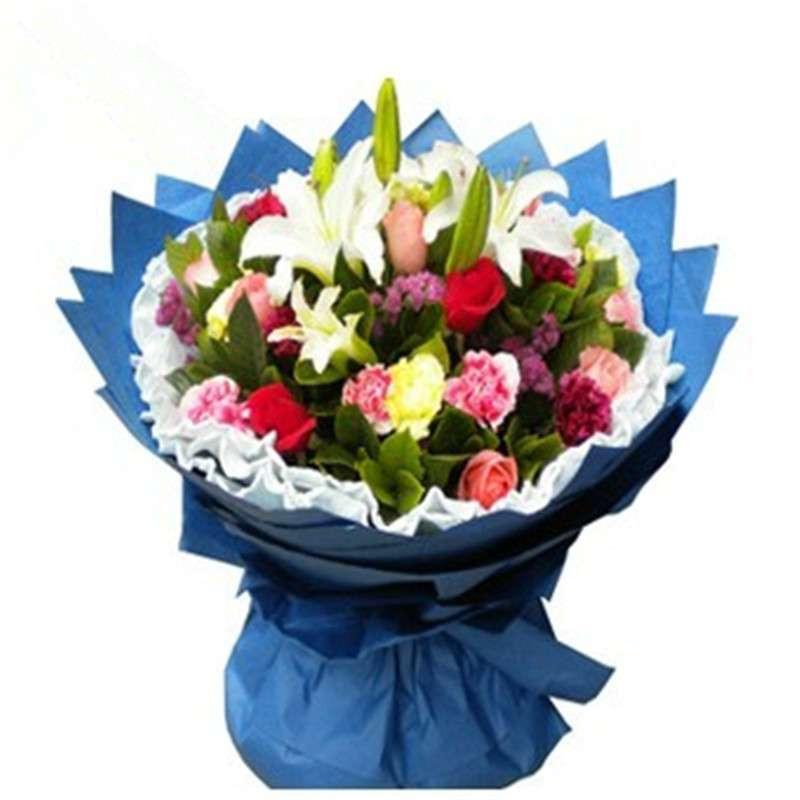 全国鲜花速递 百合康乃馨玫瑰花束