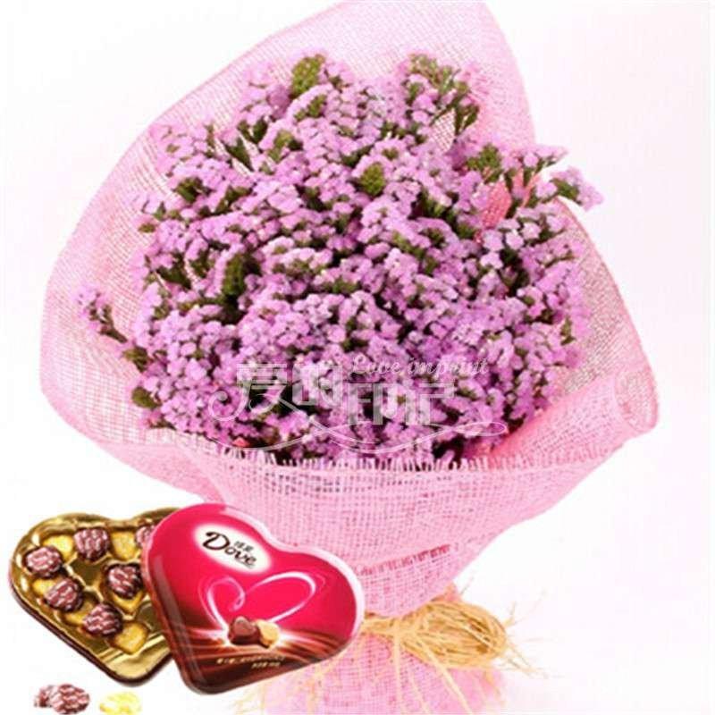 爱的印记 1扎粉色勿忘我 德芙巧克力 爱的印记鲜花