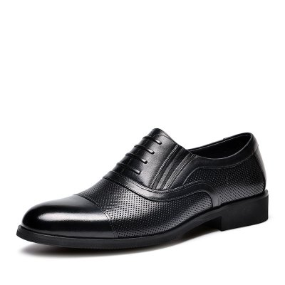 金猴(Jinhou)夏季商務正裝 三接頭男涼鞋 假系帶套腳皮鞋男 洞洞鞋J3112