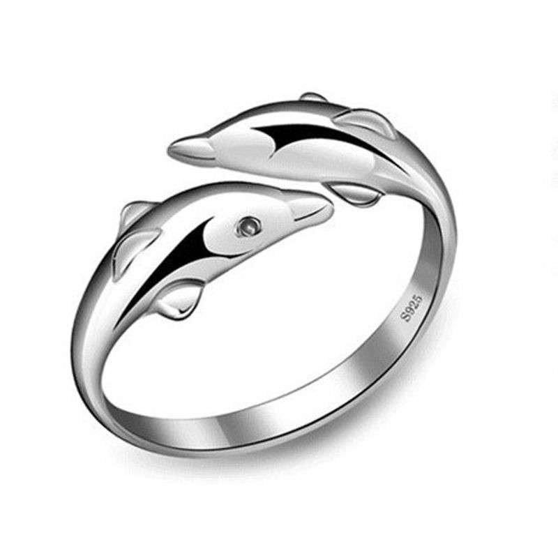 佰黛925纯银可爱小海豚戒指 女款 生日礼物 开口指环