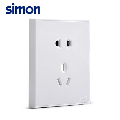 西蒙开关插座86型e6雅白系列五孔插座二三插五孔墙壁电源插座面板 三