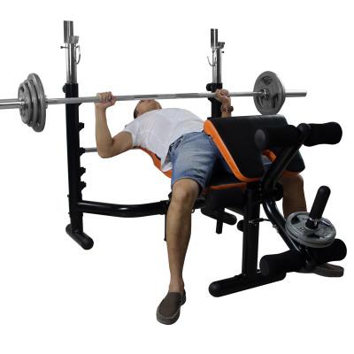 雷克多功能举重床卧推架杠铃组合套装深蹲架组合家用健身器材 配90KG烤漆杠铃