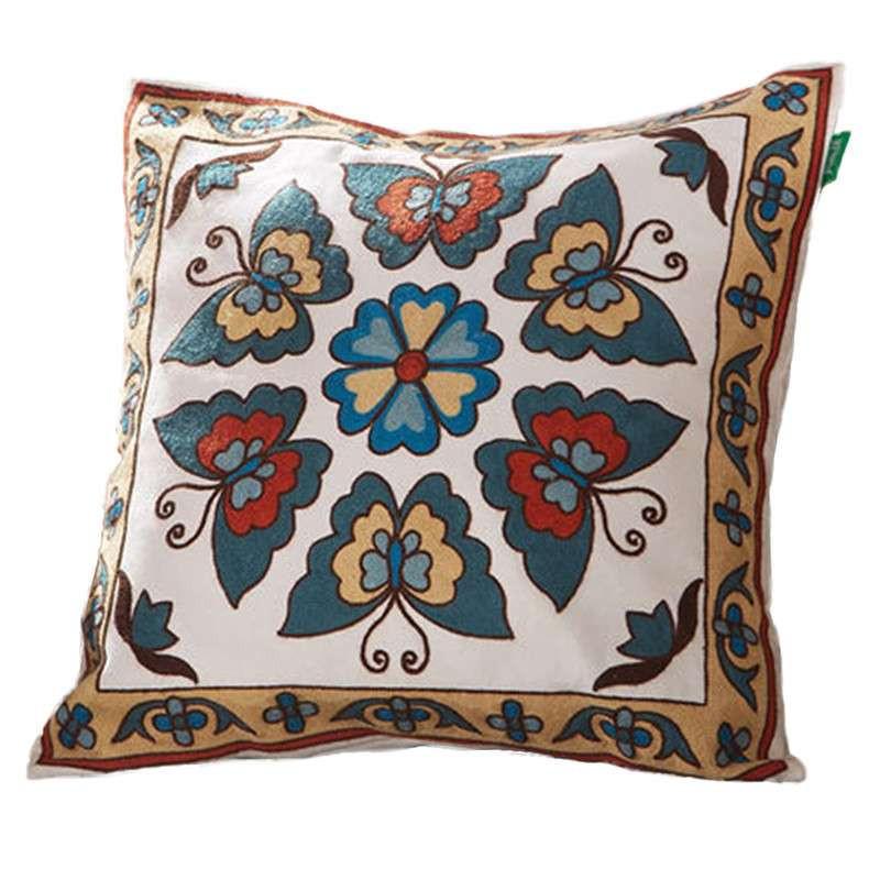 卡佩利丝 民族风纯棉刺绣靠垫 工艺靠枕 抱枕