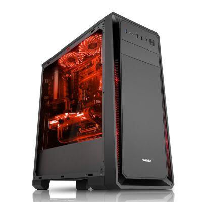 先马(SAMA)塞恩1 U3,兼容长显卡和高塔CPU散热器,背线,立体散热 游戏机箱 黑色 电脑机箱 中塔机箱