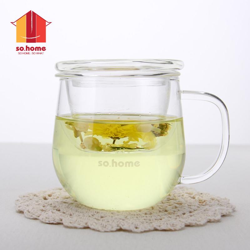 sohome女士玻璃杯透明创意可爱花茶杯玻璃过滤杯子