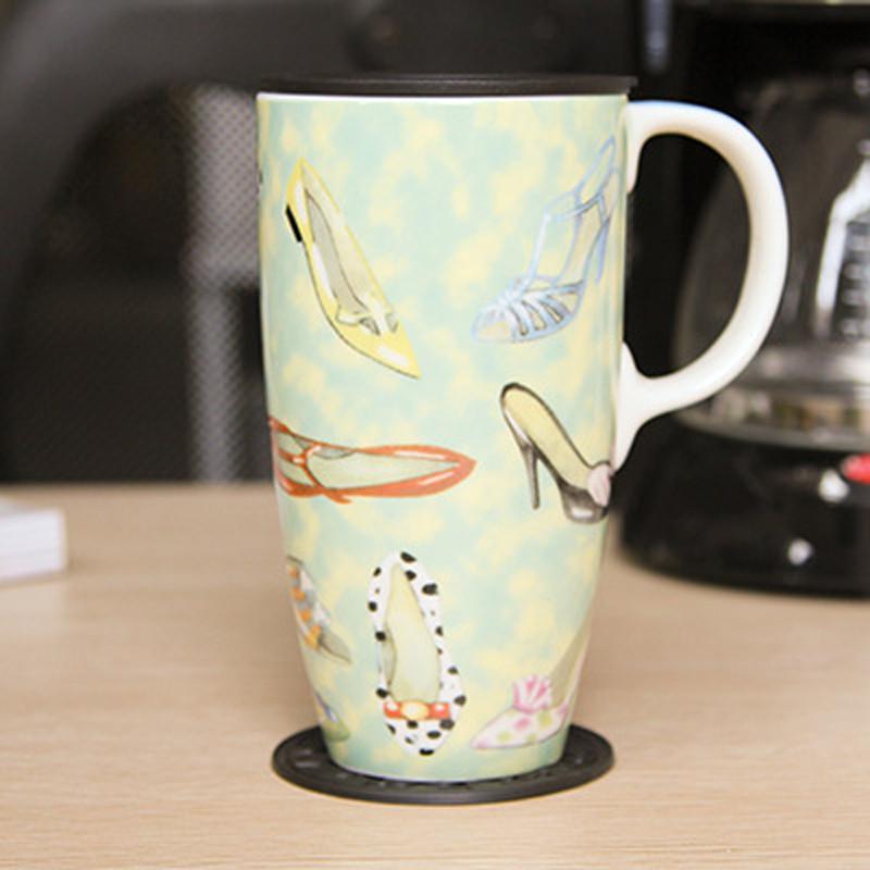 绿盒子 创意情侣马克杯 欧式彩绘陶瓷杯子 大容量带盖杯子水杯lvl-bz
