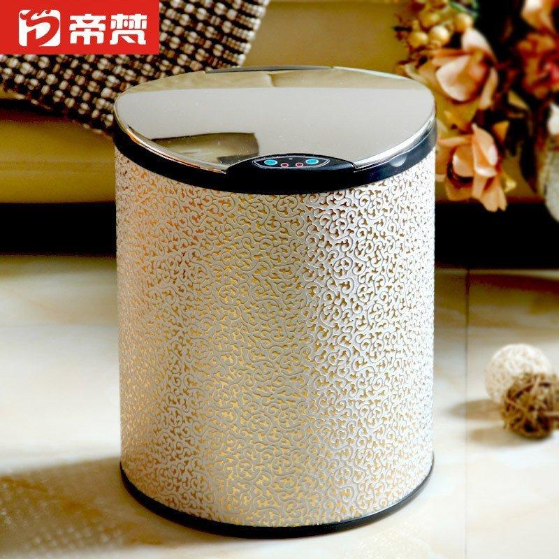 感应垃圾桶静音家用垃圾筒厨房卫生间创意欧式带盖子