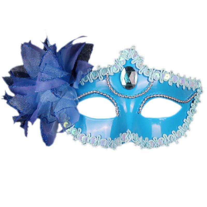 威尼斯公主面具 万圣节舞会面具女 化妆舞会 创意礼物 侧花珠链面具