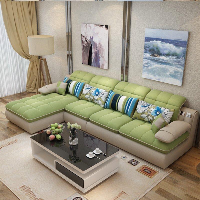 kay小户型布艺沙发现代简约客厅家具贵妃组合l型可拆洗布沙发转角