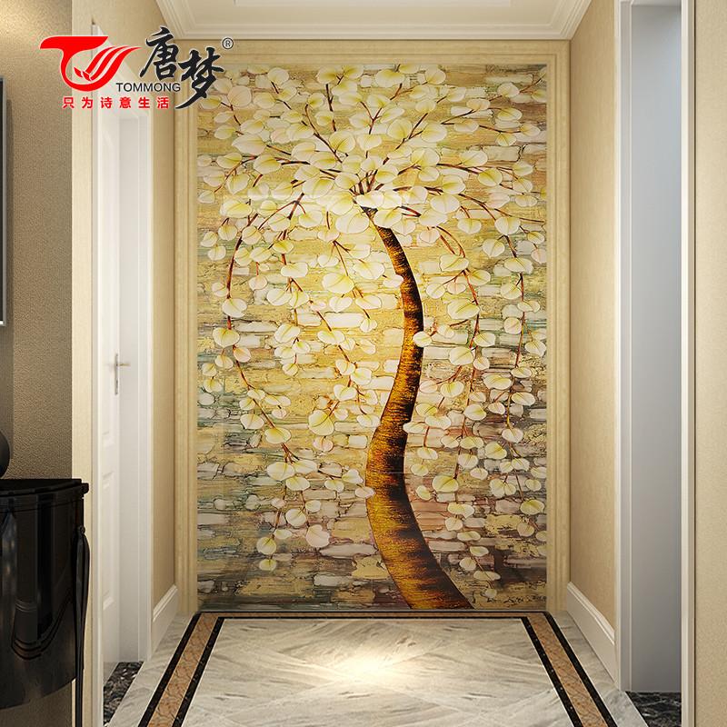 唐梦 玄关背景墙 餐厅客厅瓷砖现代简约 走廊过道背景墙3d 发财树