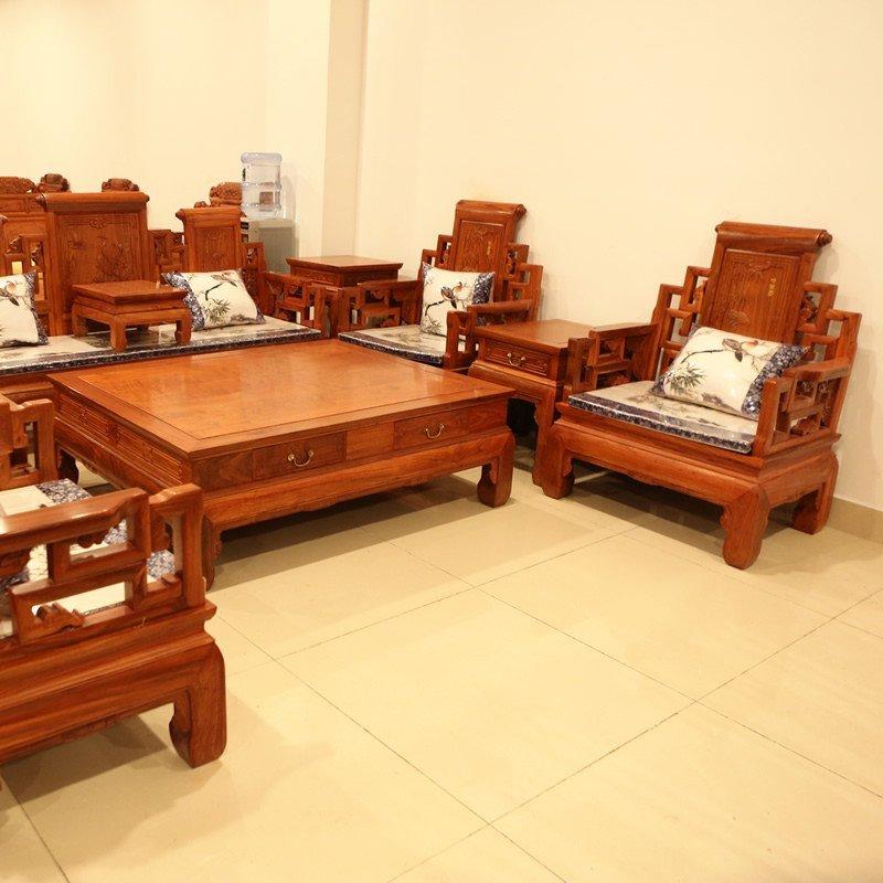 新古典东阳红木沙发非洲花梨木沙发仿古红木家具 客厅沙发成套家具 卷
