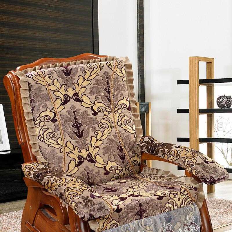 添富贵 双色提花绒实木红木沙发垫套装 加厚海绵联邦椅子坐垫带靠背