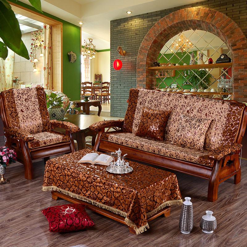 添富贵 烫金实木椅垫红木沙发垫 防滑椅子垫子加厚海绵沙发坐垫带靠背