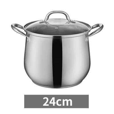TiLUCK 蒂洛克 汤锅 304不锈钢 加厚加深加高复底 煲汤炖锅 电磁炉燃气通用 24cm汤锅