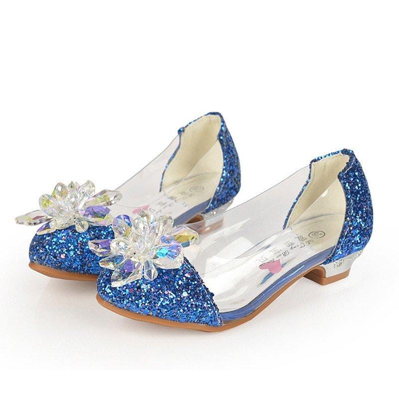女童秋鞋小女孩子水晶鞋灰姑娘儿童高跟鞋公主皮鞋单