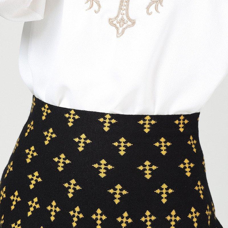 雅旦戈乐2016春装新款韩版高腰修身花纹时尚短裙a字裙