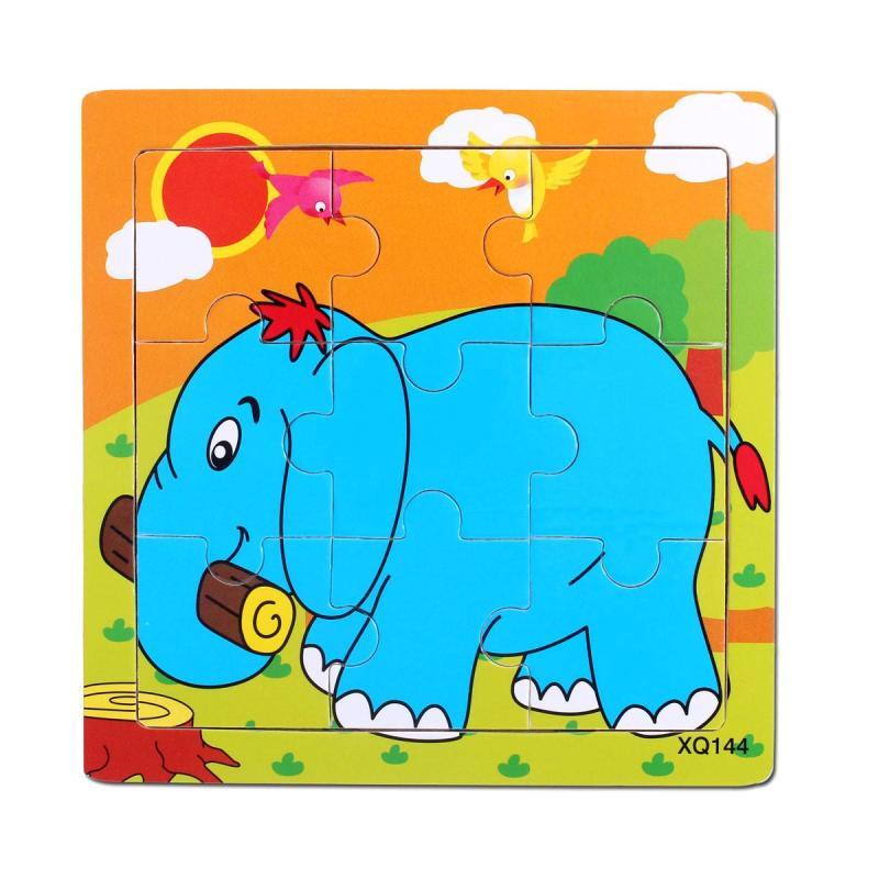 小皇帝 木质卡通动物拼图 9块智力拼板 儿童益智早教玩具 大象pg99144