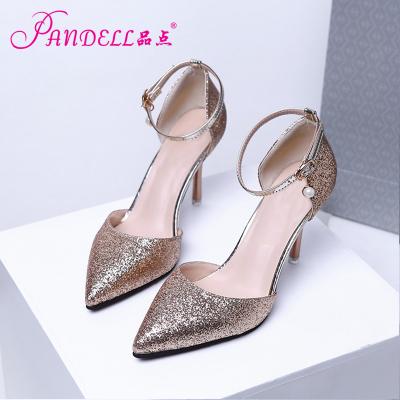 品点新款尖头高跟鞋蝴蝶结细跟单鞋镂空女鞋婚鞋新娘鞋