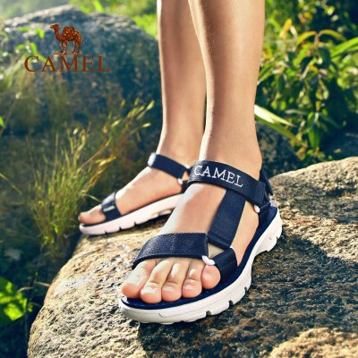 CAMEL骆驼户外沙滩凉鞋 夏季情侣款男女织带缓压简约沙滩凉鞋