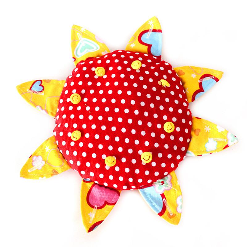 手工带纽扣布艺飞盘 儿童练习系扣子 幼儿园教学安全软飞碟玩具 蝴蝶