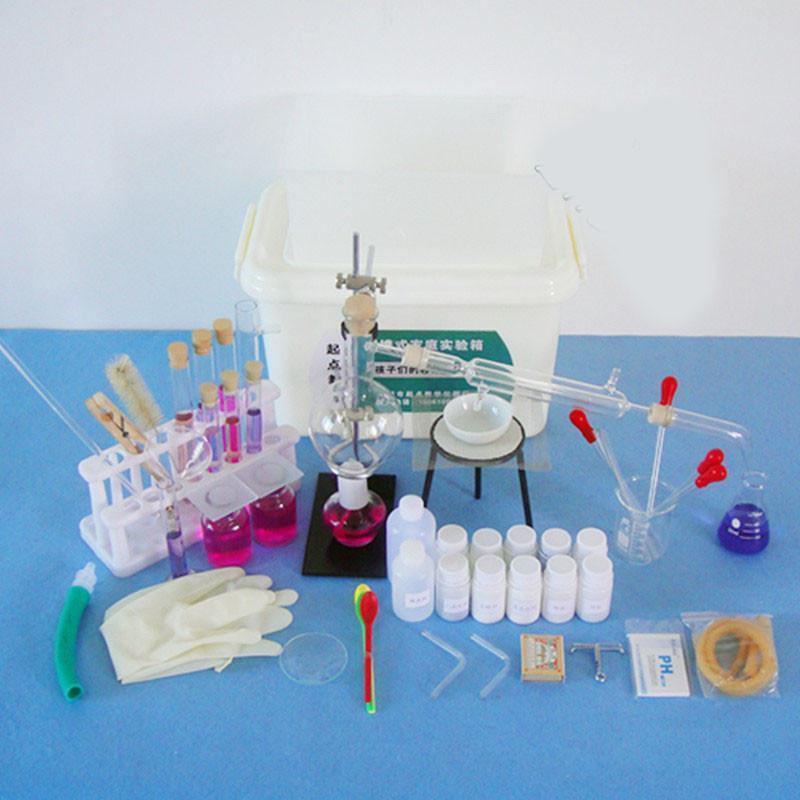 京潮港 初中高中微型化学实验箱 实验器材箱 含蒸馏水