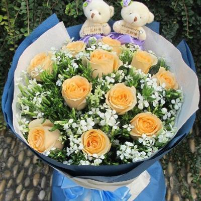 花袭人 鲜花速递 11朵香槟玫瑰 情人节送女友 全国同城配送 北京上海广州武汉鲜花速递11朵香槟