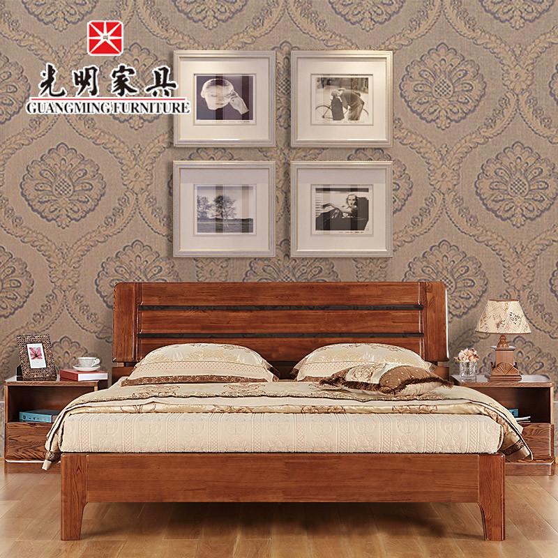 光明家具简约现代中式全实木床1.8m米水曲柳床双人床