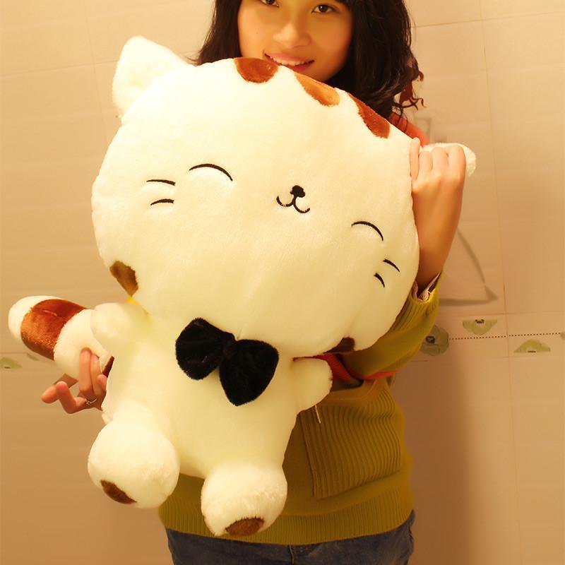 玩具大脸猫玩偶可爱布娃娃抱枕猫咪饭团猫公仔生日礼物 70cm白色站姿