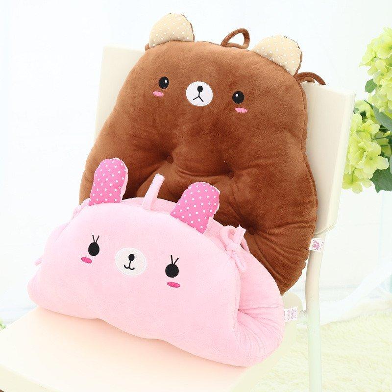 安吉宝贝卡通七孔坐垫家居办公室加厚椅垫龙猫可爱动物毛绒沙发座垫