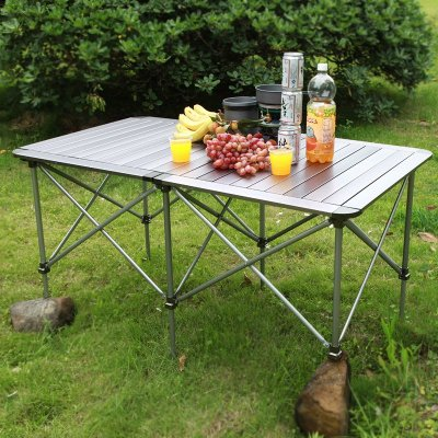 兄弟BRS-Z32可升降折叠双桌便携铝合金桌子野餐桌自驾游装备桌椅