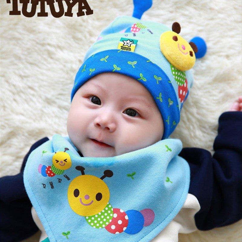 叶子宝宝 婴儿帽子套装 新生儿套头帽 宝宝帽加三角巾