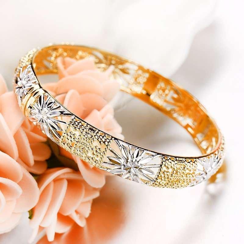旭平饰品 镀金彩金米字花车花手镯女 复古镂空花纹手环