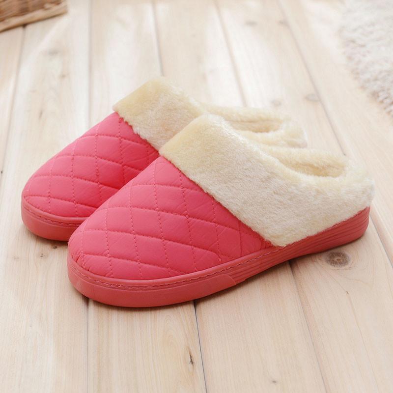 浦晨棉拖鞋女式毛绒厚底保暖鞋 防滑居家鞋菱形款--大
