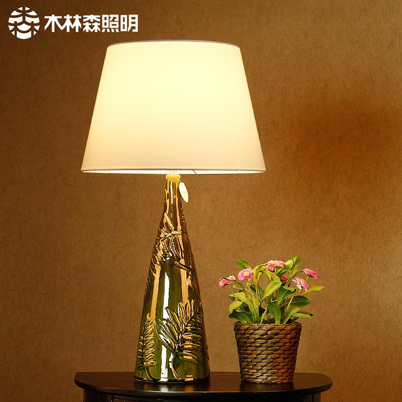 木林森照明装饰创意设计台灯客厅书房艺术陶瓷灯绿色手绘雕花台灯图片
