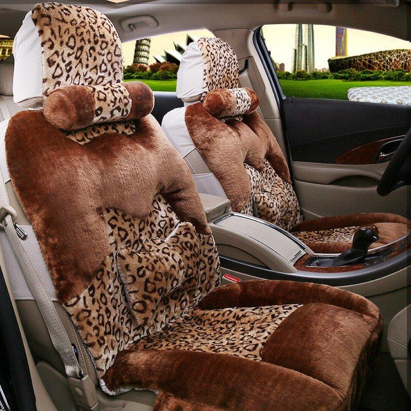 石家垫 汽车坐垫冬季保暖豹纹毛绒座垫 五座通用