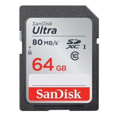 SANDISK(闪迪)Ultra64GB(CLASS 10)SDXC存储卡 SD卡 高速相机内存卡(读80mb/s)