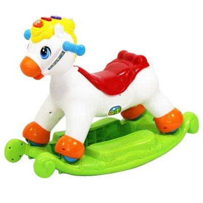 汇乐 快乐摇马 儿童摇椅 婴幼儿带音乐灯光四轮滑行木马玩具