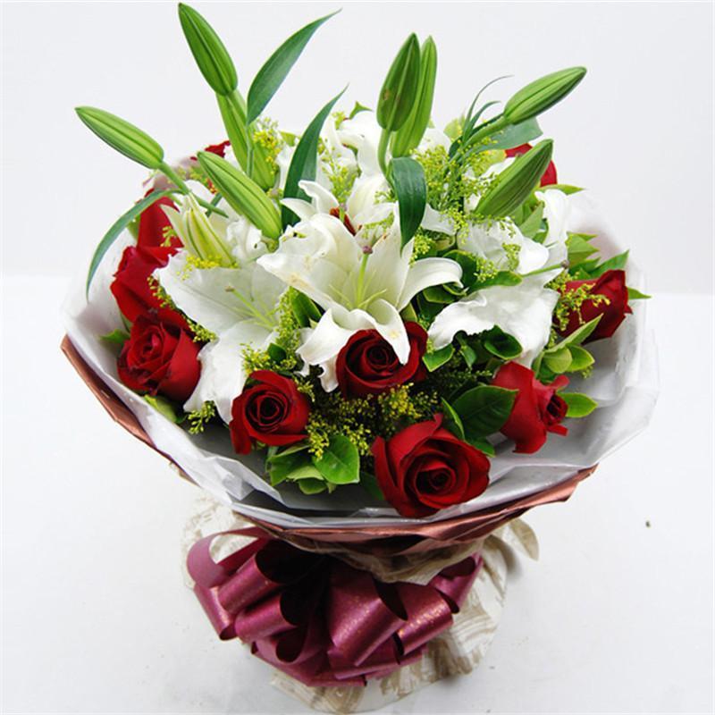 五二零 情人节鲜花速递全国送花 生日礼物礼品 玫瑰花百合花混搭花束