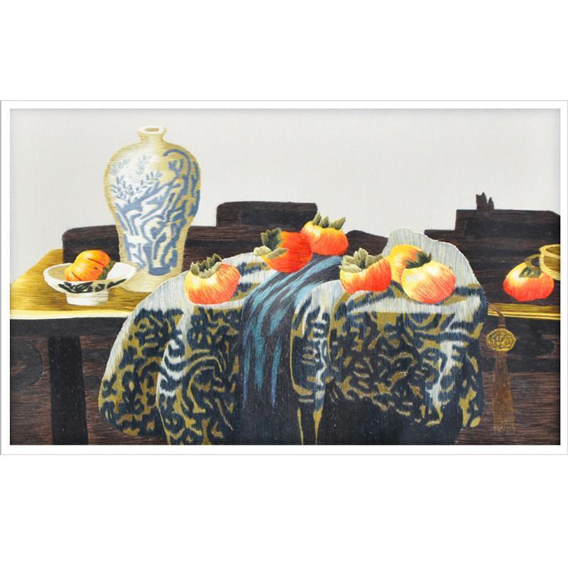 娇古苏绣 双面绣静物花瓶 檀木镂空雕花 工艺品摆件 办公室摆件 书房