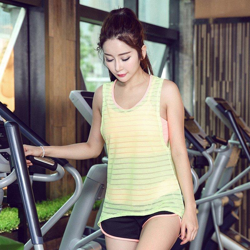纽嘉16韩国夏季瑜伽健身服女网纱罩衫透明感运动跑步健身房瑜伽服