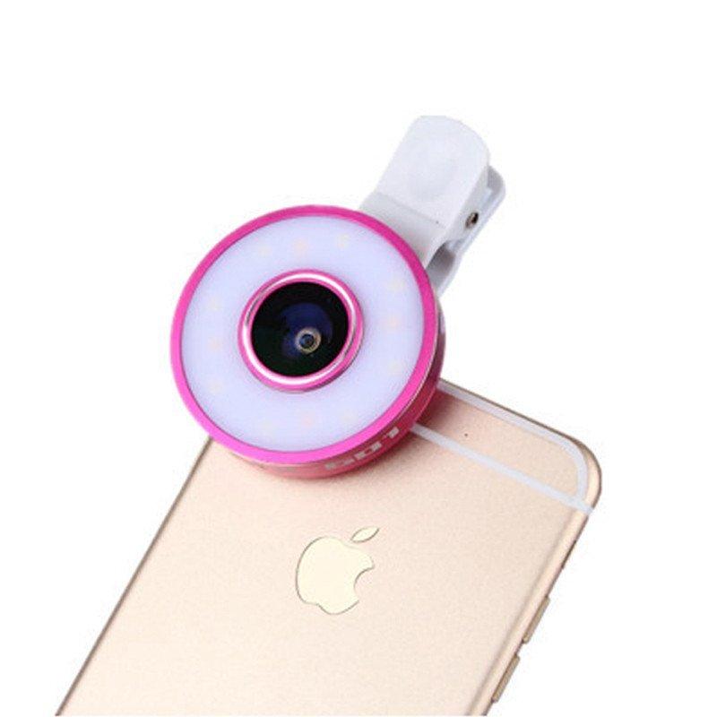 三星苹果智能手机通用鱼眼拍照广角微距 led补光灯自拍镜头(粉色)