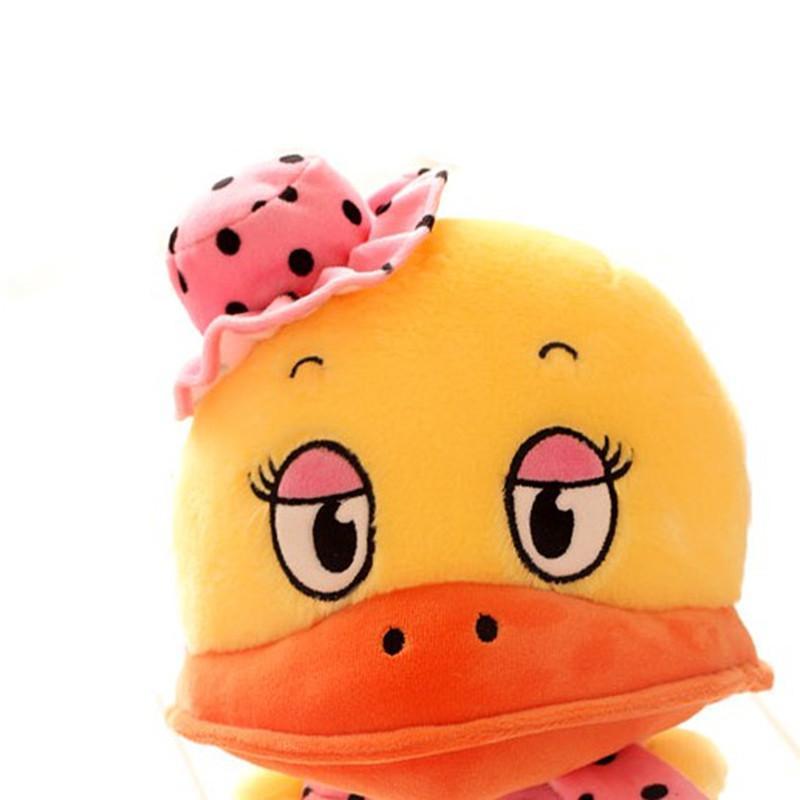 可爱大嘴鸭子公仔 卡通波点帽子大黄鸭毛绒玩具大号抱枕 生日礼物