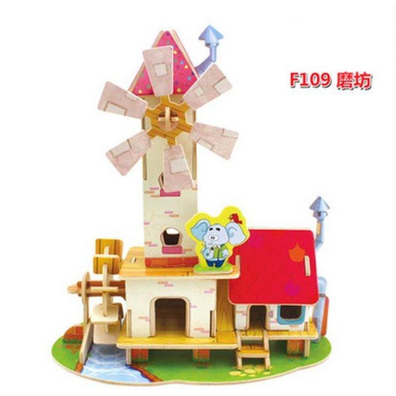 幼儿园手工拼装木头拼插立体房子制作小屋模型3-6岁p