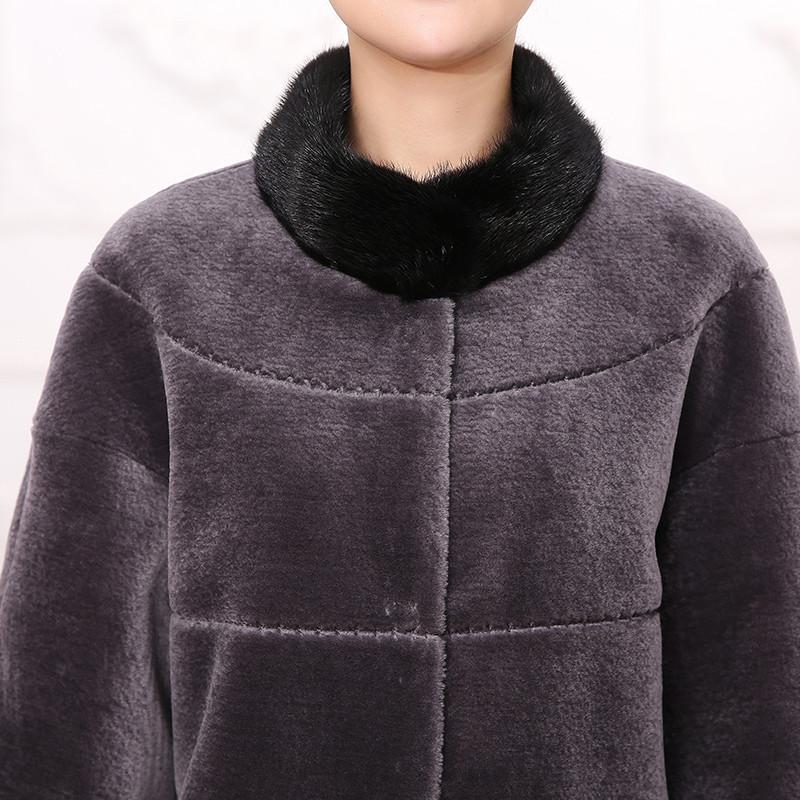 妈妈圆领套头羊��(j_查牧斯 秋冬款羊毛外套中老年女装中长款羊剪绒中年妈妈装水貂圆领七