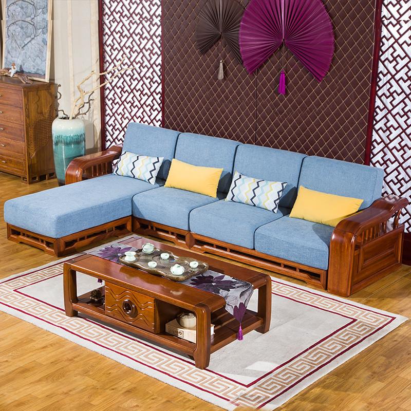 实木沙发组合实木家具客厅组合可拆洗金丝檀木沙发转角沙发